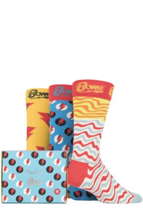 Mens 3 Pair Happy Socks David Bowie Gift Boxed Cotton Socks