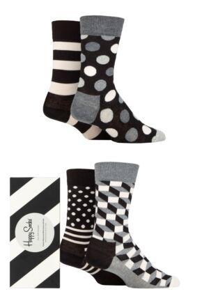 Happy Socks 4 Pair Classic Black & White Gift Boxed Socks