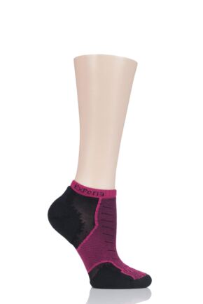 Mens and Ladies 1 Pair Experia By Thorlos Cushioned Running Micro Mini Crew Socks Night Pink 3-5.5