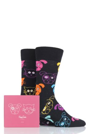 Mens and Ladies 2 Pair Happy Socks Cat vs Dog Gift Boxed Socks