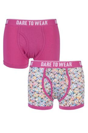 Mens 2 Pack Dare to Wear Fitted Keyhole Trunks with Exclusive Scribble Art Design 25% OFF This Style Cerise B