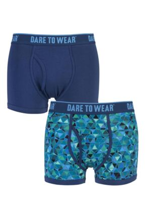 Mens 2 Pack Dare to Wear Fitted Keyhole Trunks with Exclusive Isocahedron Art Design