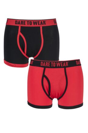 Mens 2 Pack Dare to Wear Colourburst Red and Black Fitted Keyhole Trunks 25% OFF This Style