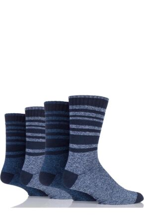 Mens 4 Pair Farah Marl Striped Cotton Blend Boot Socks Navy 6-11