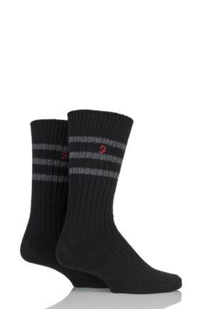 Mens 2 Pair Farah Classic Wide Stripe Socks