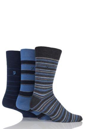 Mens 3 Pair Farah Classic Mixed Stripe Socks Navy