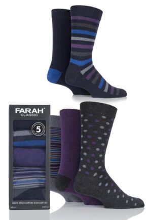 Mens 5 Pair Farah Gift Boxed Plain and Striped Cotton Socks