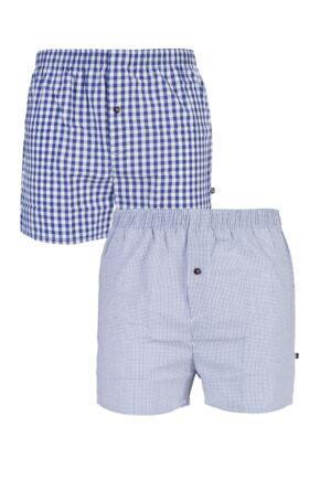 Mens 2 Pack Farah Classic 100% Cotton Check Woven Boxer Shorts In Purple Purple XL