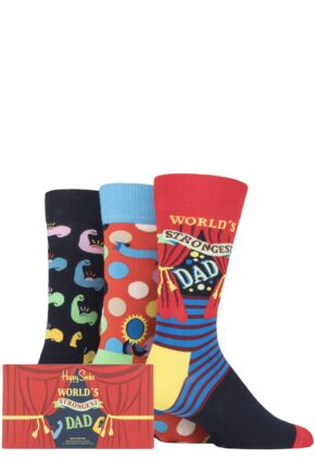 Mens 3 Pair Happy Socks Fathers Day Gift Boxed Cotton Socks