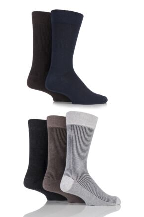 Mens 5 Pair Farah Gentle Grip Vertical Striped Cotton Socks Dark 6-11 Mens