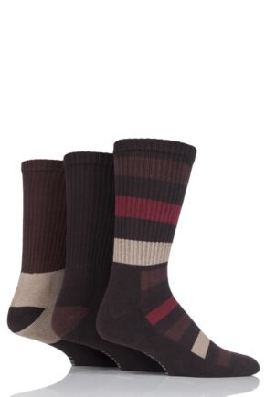 Mens 3 Pair Farah Cushioned Foot Striped Boot Socks Brown 6-11 Mens