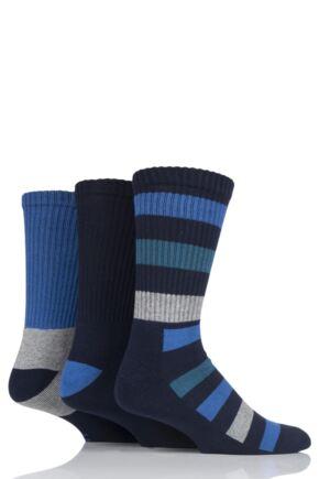 Mens 3 Pair Farah Cushioned Foot Striped Boot Socks