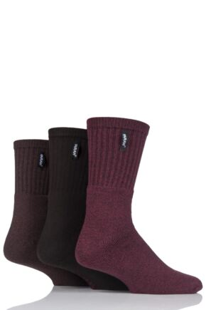 Mens 3 Pair Farah Cushioned Foot Plain Boot Socks Brown 6-11 Mens