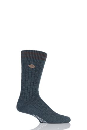Mens 1 Pair Farah 1920 Cotton Basket Weave Effect Chunky Boot Socks