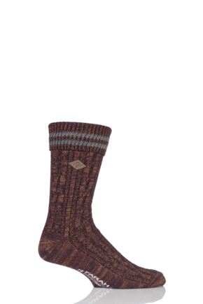Mens 1 Pair Farah 1920 Cotton Cable Knit Boot Socks with Turn Over Top Deep Red / Slate