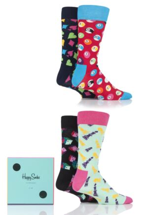 Mens and Ladies 4 Pair Happy Socks Game Night Socks in Gift Box