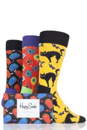 Mens and Ladies 3 Pair Happy Socks Halloween Socks in Gift Box