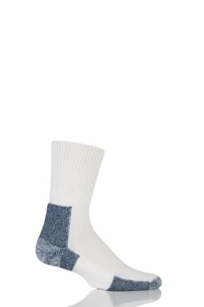 Mens 1 Pair Thorlos Running Crew Socks with Thick Cushion White/Navy 12.5-14