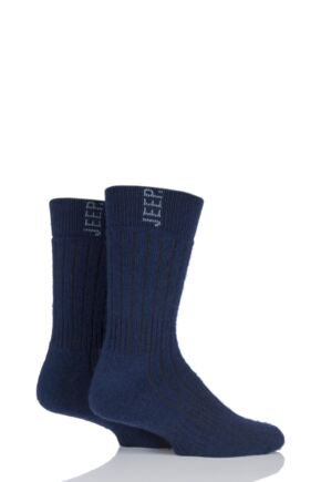 Mens 2 Pair Jeep Heavy Brushed Wool Mix Boot Socks Navy