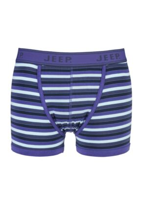 Mens 1 Pair Jeep Spirit Cotton Block Stripe Trunks In Navy