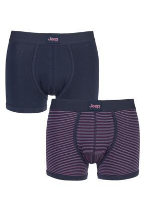 Mens 2 Pack Jeep Fine Stripe and Plain Hipster Trunks