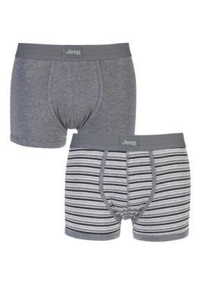 Mens 2 Pack Jeep Dual Stripe and Plain Hipster Trunks Grey / Charcoal S