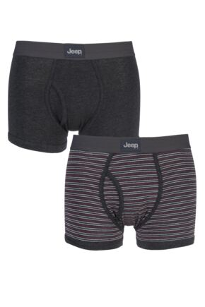 Mens 2 Pack Jeep Dual Fine Stripe and Plain Hipster Trunks Charcoal / Cherry XL