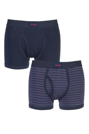 Mens 2 Pack Jeep Dual Fine Stripe and Plain Hipster Trunks