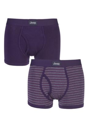 Mens 2 Pack Jeep Dual Fine Stripe and Plain Hipster Trunks Plum / Stone S