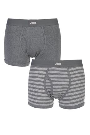 Mens 2 Pack Jeep Tonal Stripe and Plain Hipster Trunks Slate / Grey M