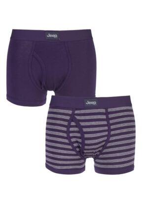 Mens 2 Pack Jeep Tonal Stripe and Plain Hipster Trunks Plum / Cream S