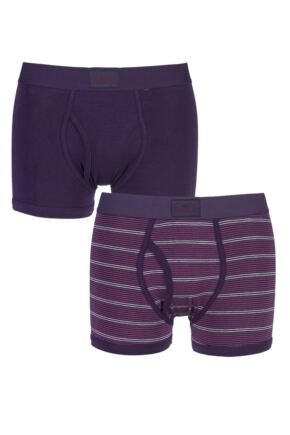 Mens 2 Pack Jeep Micro Stripe and Plain Hipster Trunks Plum / Light Grey M
