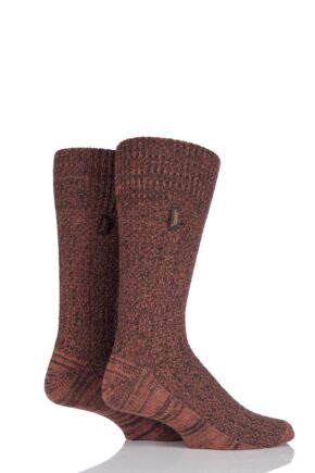Mens 2 Pair Jeep Urban Trail Wool Ribbed Boot Socks Brown