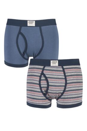 Mens 2 Pack Jeep Spirit Front Badge Plain and Striped Keyhole Trunks