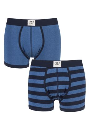 Mens 2 Pack Jeep Spirit Front Badge Plain and Striped Trunks