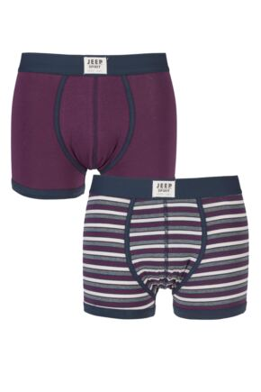 Mens 2 Pack Jeep Spirit Front Badge Plain and Narrow Striped Trunks Berry / Airforce L