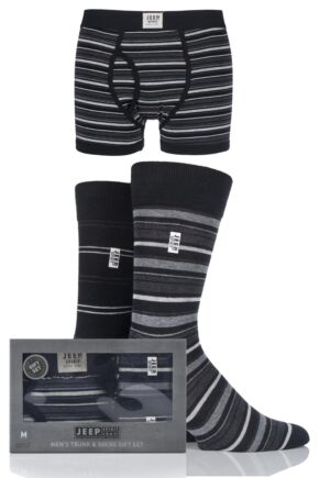 Mens 3 Pack Jeep Spirit Gift Boxed Mixed Striped Boxer Shorts and Socks Black / Charcoal M