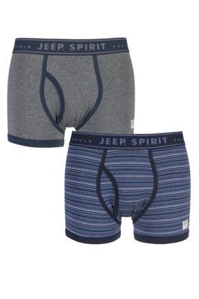 Mens 2 Pack Jeep Spirit Jacquard Waistband Keyhole Trunks Grey / Airforce M