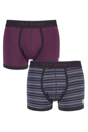 Mens 2 Pack Jeep Spirit Jacquard Waistband Trunks Charcoal / Berry S