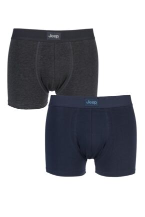 Mens 2 Pack Jeep Cotton Plain Fitted Hipster Trunks
