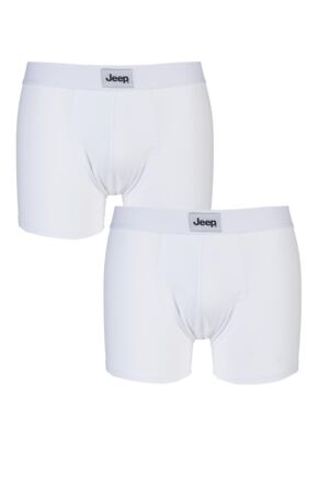 Mens 2 Pack Jeep Cotton Plain Fitted Hipster Trunks White