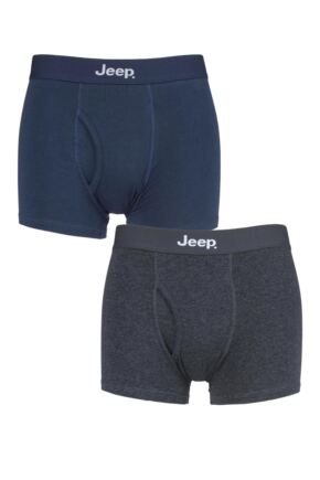 Mens 2 Pack Jeep Cotton Plain Fitted Key Hole Trunk Boxer Shorts