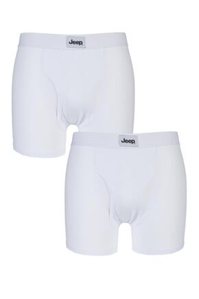 Mens 2 Pack Jeep Cotton Plain Fitted Key Hole Trunk Boxer Shorts White