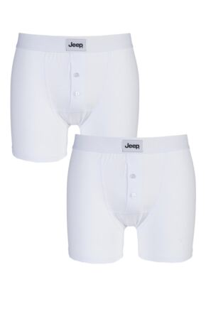 Mens 2 Pack Jeep Cotton Plain Fitted Button Front Trunk Boxer Shorts White