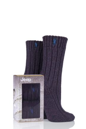 Ladies 2 Pair Jeep Gift Boxed Terrain Boot Socks Purple 4-7