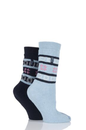 Ladies 2 Pair Jeep Fair Isle Jacquard Socks