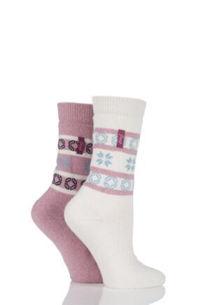 Ladies 2 Pair Jeep Fair Isle Jacquard Socks Pink / Cream