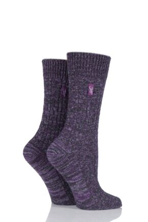 Ladies 2 Pair Jeep Urban Trail Distressed Wool Cable Knit Boot Socks Purple