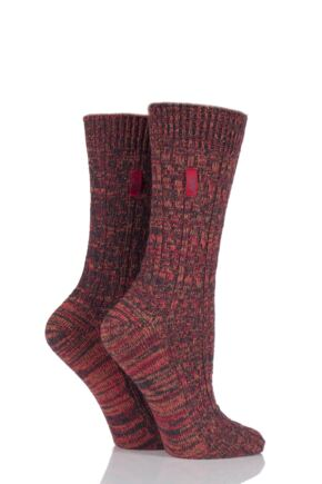 Ladies 2 Pair Jeep Urban Trail Distressed Wool Cable Knit Boot Socks Red