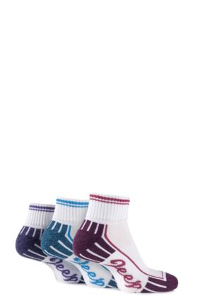 Ladies 3 Pair Jeep Cushioned Cotton Ankle Socks White 4-7